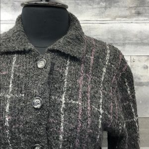 Pendleton Wool Blend Cardigan Gray with Purple S